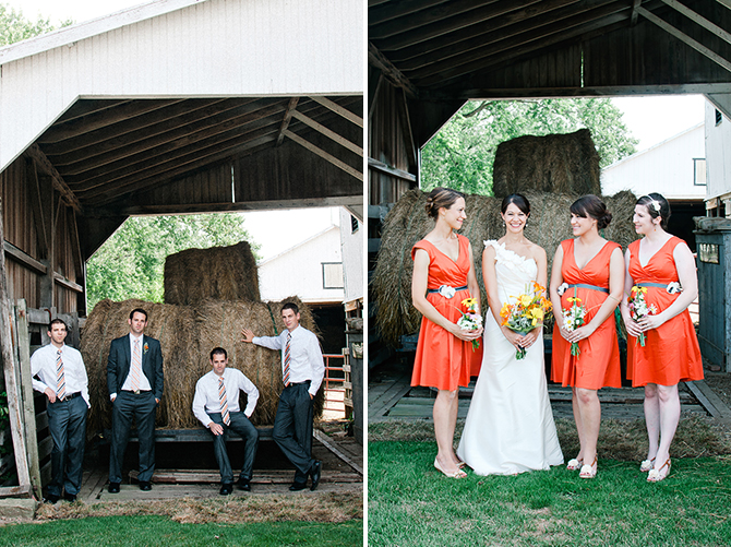 bridal party photography at dayton ohio farm wedding