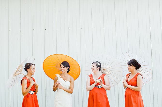 dayton ohio wedding photography bridesmaids with orange parasols