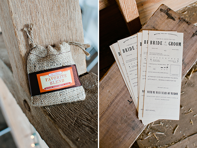 coffee bean favors and wedding mad-lib at dayton, ohio wedding