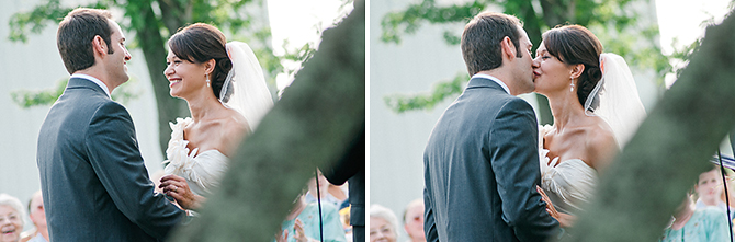 dayton wedding couple first kiss photography
