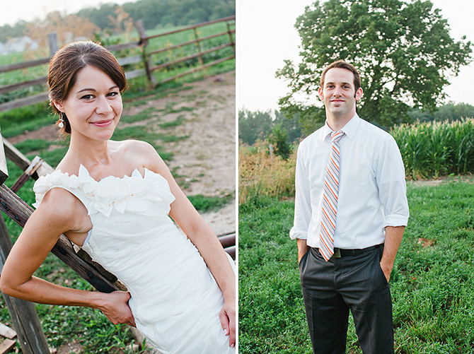 portraits of wedding couple on a farm