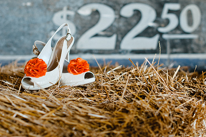 dayton ohio farm wedding orange shoes
