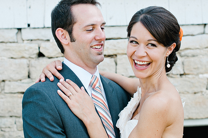happy wedding couple laughing dayton wedding photographer