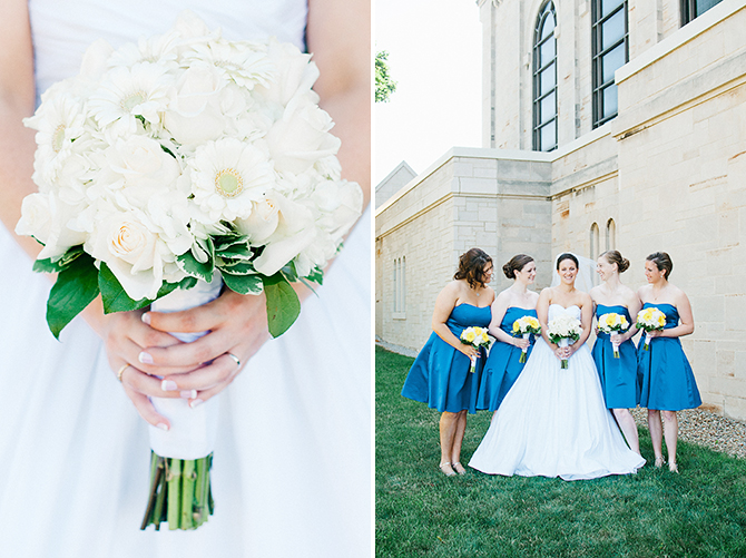 bridal party photography blue bridemaids dresses yellow bouquets