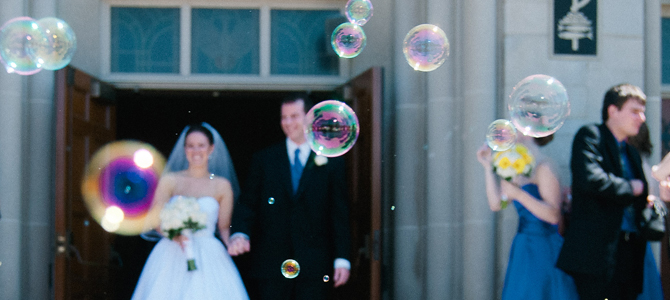 wedding bubble exit photography