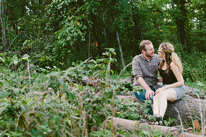 woodsy outdoor natural engagement portraits in dayton ohio