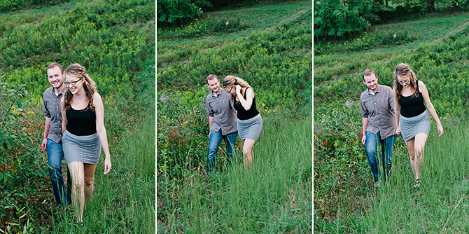 couple in field engagement pictures zanesville ohio