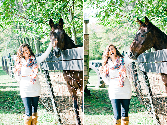 portrait of a girl laughing with a horse at windmall farm in springboro ohio