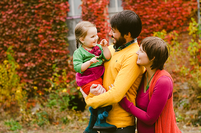 colorful fall family portrait in yellow springs, ohio