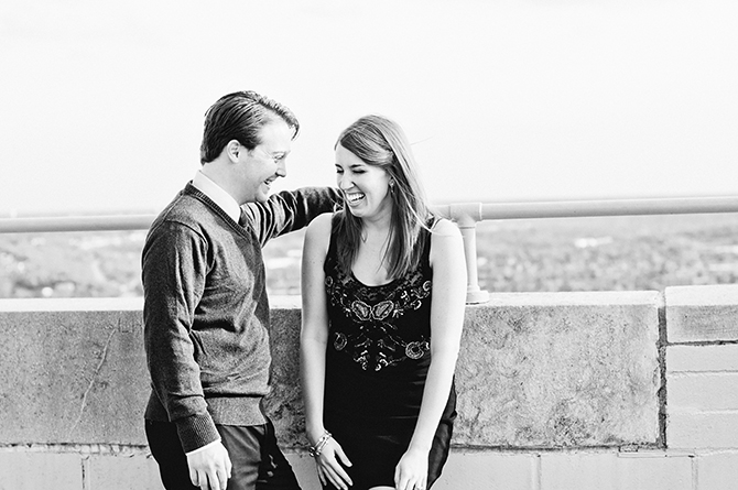 cincinnati engagement portrait of couple laughing carew tower