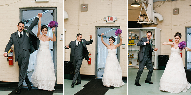 bride and groom entering packard museum reception