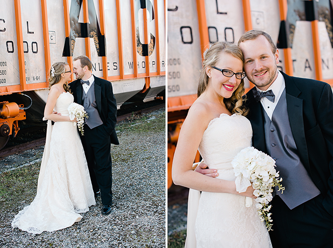 wedding portrait photography by old train in north carolina