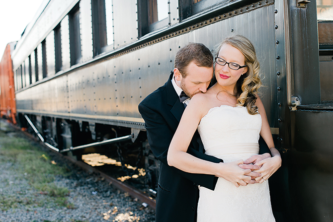 wedding portrait by old train rocky mount nc