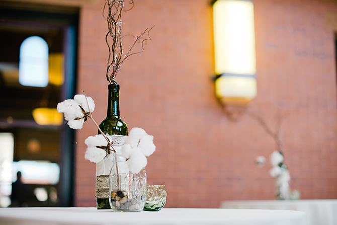north carolina cotton wedding centerpiece