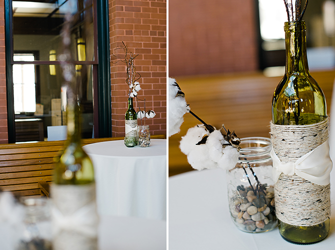 handmade wine bottle wedding centerpieces
