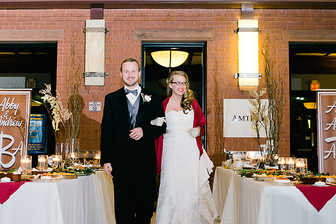 couple entering reception at rocky mount amtrak station