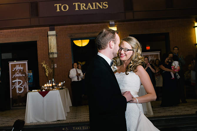 first dance at reception in train station
