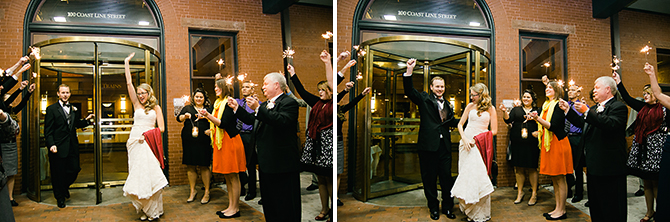 bride and groom exiting train station wedding reception