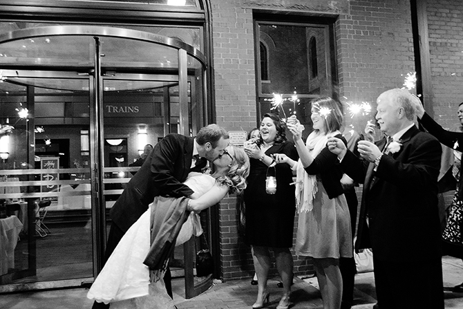 wedding couple kissing sparkler exit in north carolina