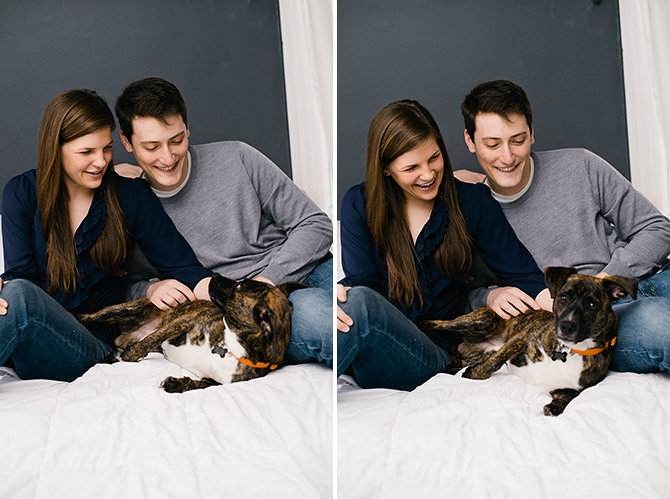 engagement photo at home with dog