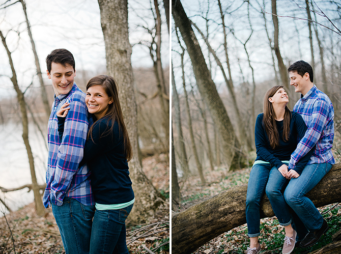 casual outdoor engagement portraits at winton woods in cincnnati