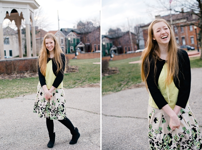 girl laughing in senior portraits in dayton