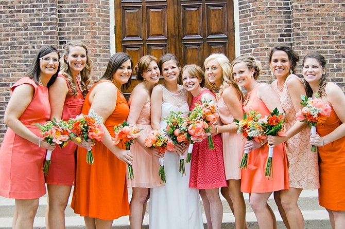 mismatched bridal party coral pink dresses