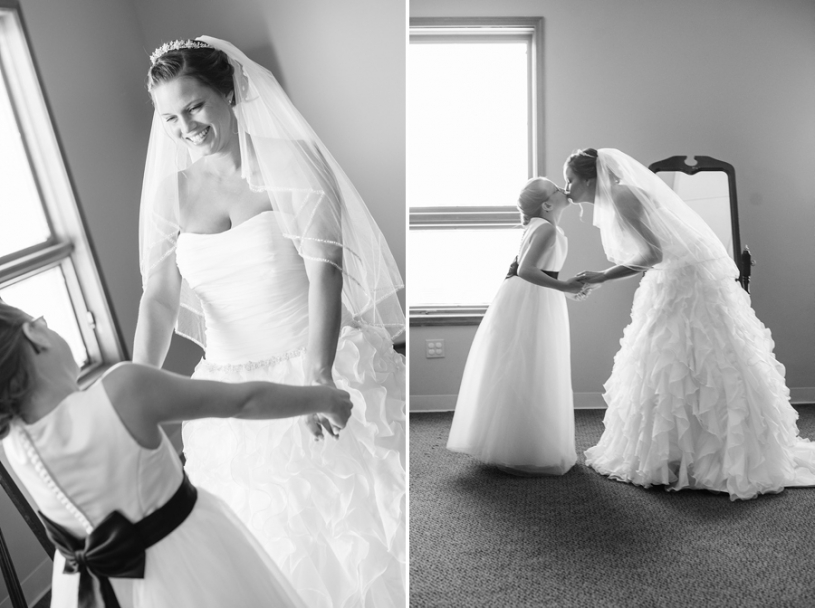 bride and her daughter on wedding day