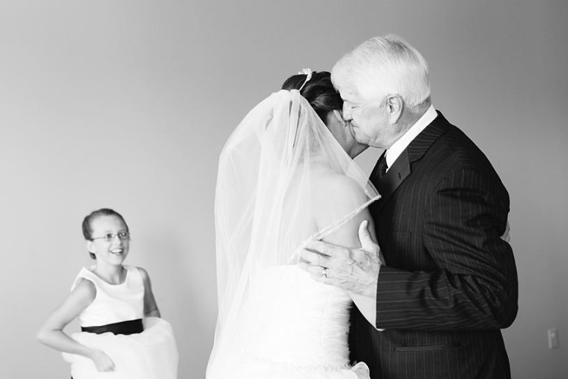 dad seeing bride for the first time on her wedding day