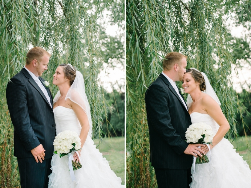bride and groom portraits with willow tree in dayton ohio