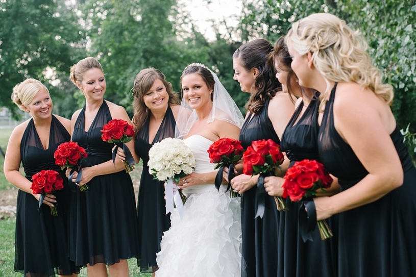 bride with bridesmaids outside presidential banquet
