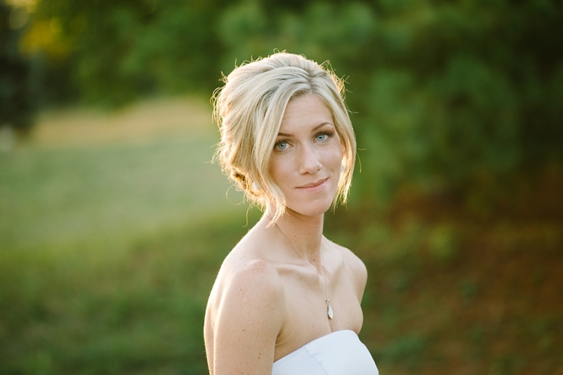 portrait of bride at sunset at lake lyndsay lodge