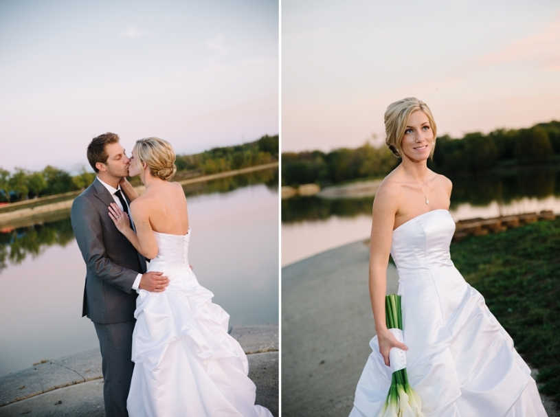 bride and groom portrait at lake lyndsay