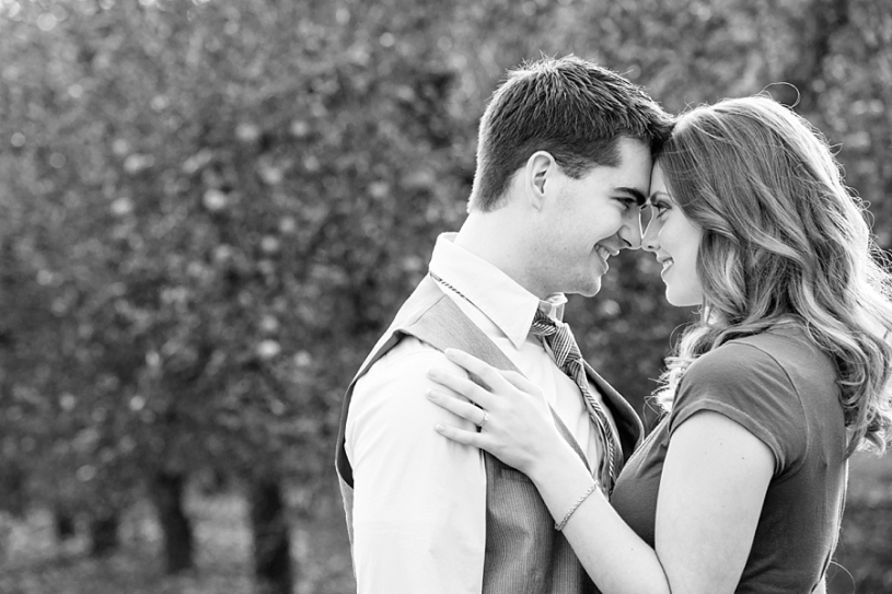 romantic engagement pictures in an apple orchard