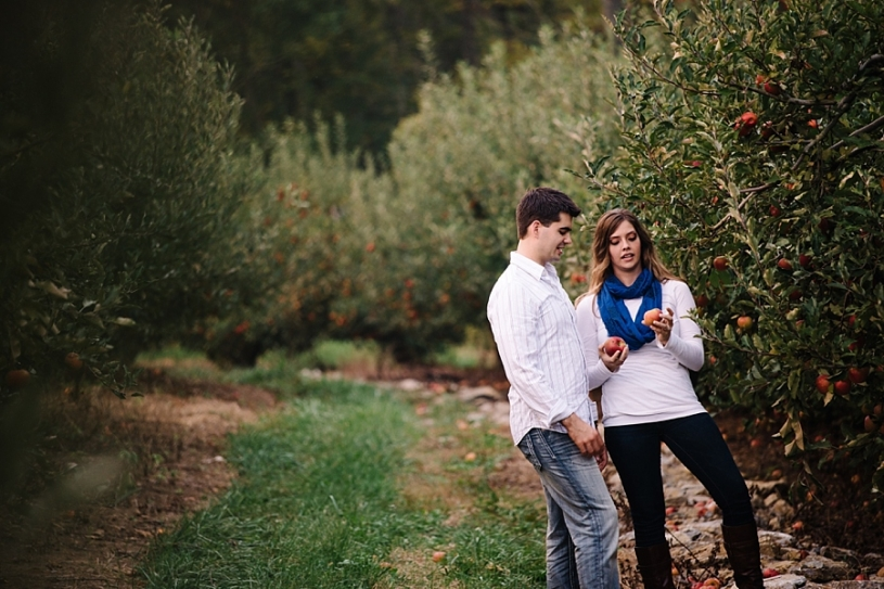 engaged couple pictures in apple orchard