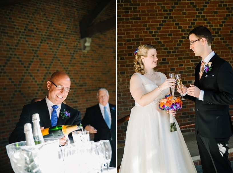 bride and groom toasting at dayton art institute