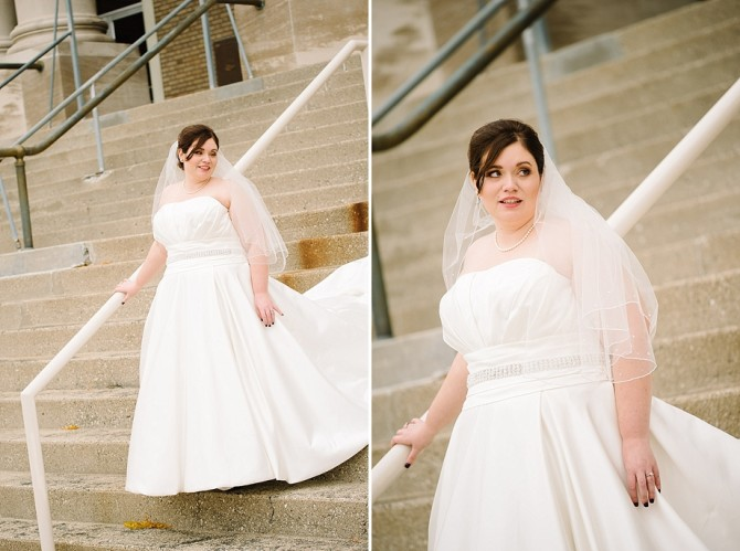 bride on stairs at dayton memorial hall