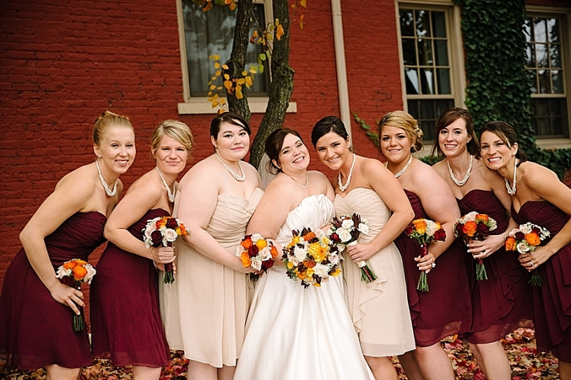 bridesmaids wine colored dresses fall bouquets