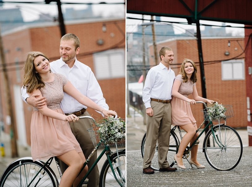 engagement photos with vintage bike