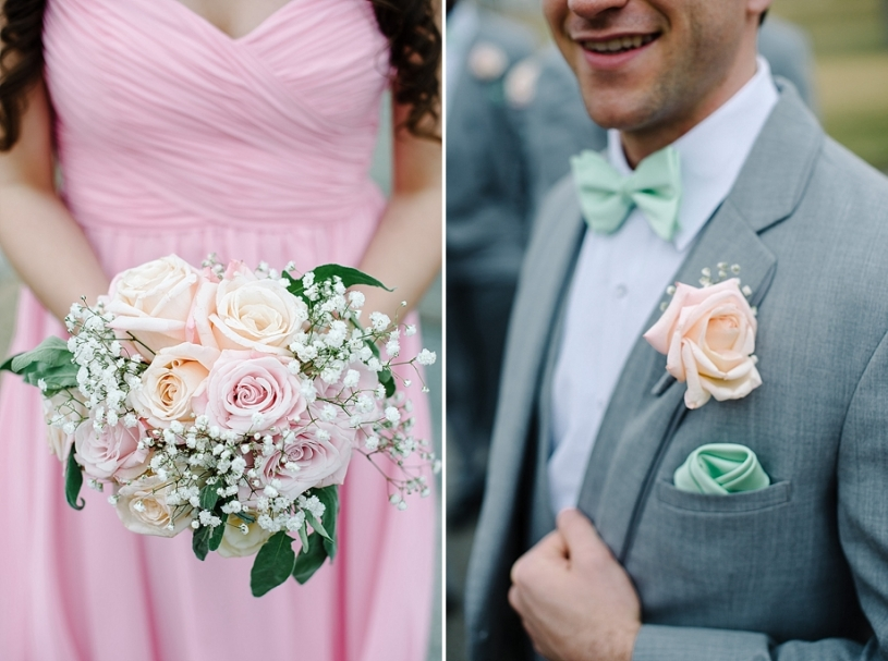pink and mint wedding flowers