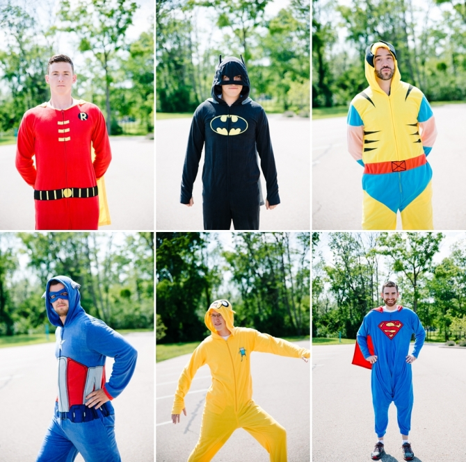 groomsmen in superhero costumes
