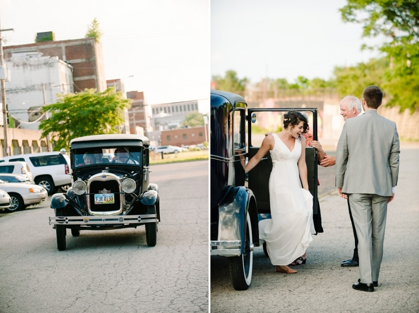 vintage car wedding driver