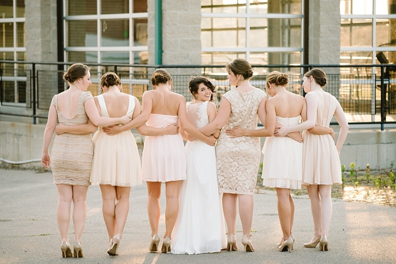 bridesmaids in mismatched champagne dresses